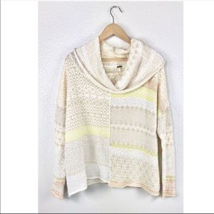 Free people sweater cowl neck knit pullover patch